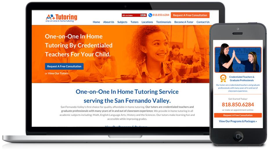 a plus in-home tutoring website design