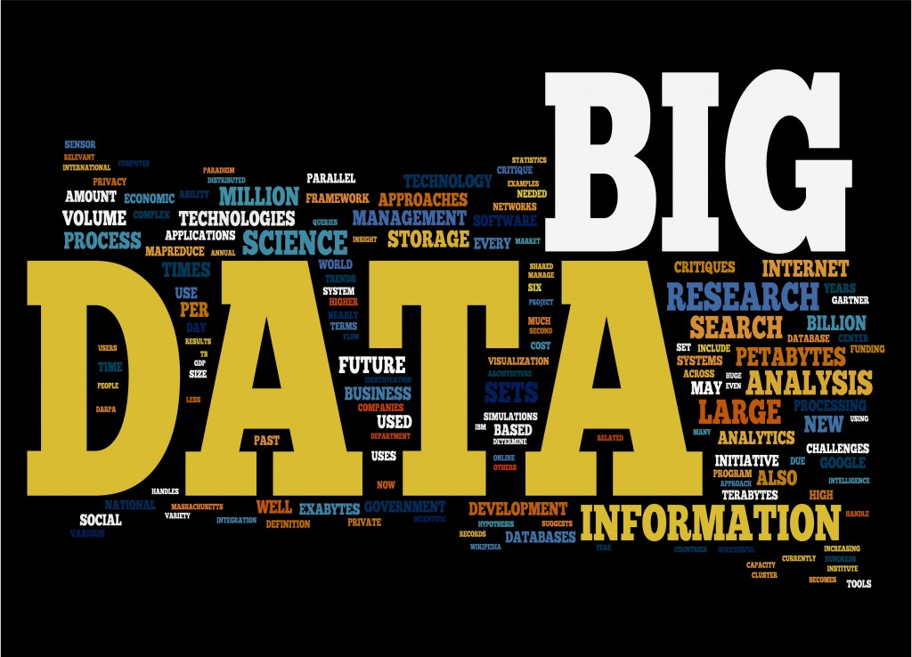 Big Data related concepts in word tag cloud isolated on black background