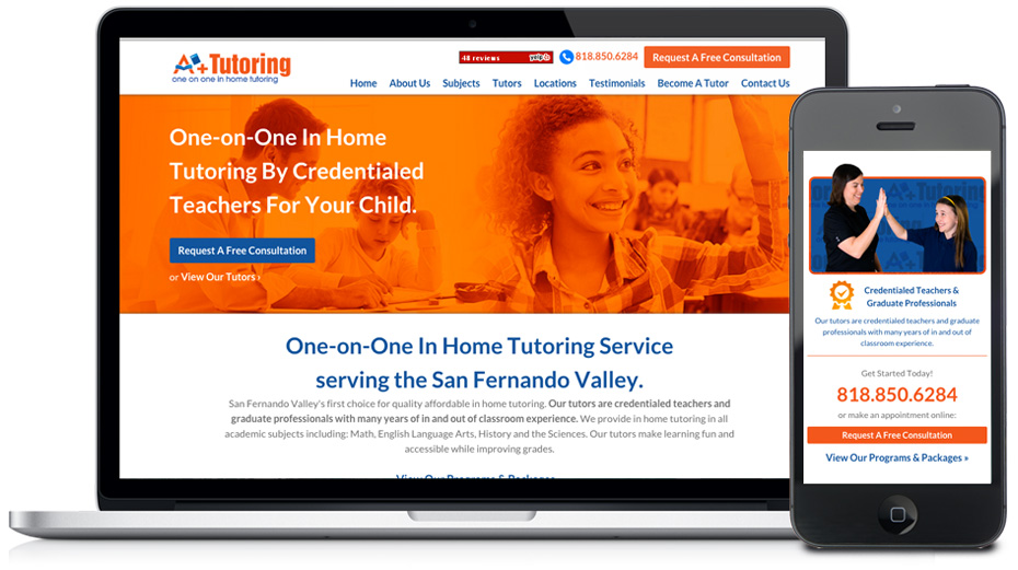a plus in-home tutoring website design